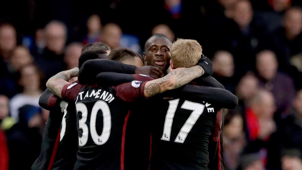 TOURE - Yaya Toure celebrates scoring his side's first goaL