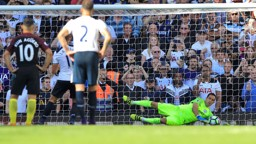 SPOT ON: Claudio Bravo saves Erik Lamela's penalty