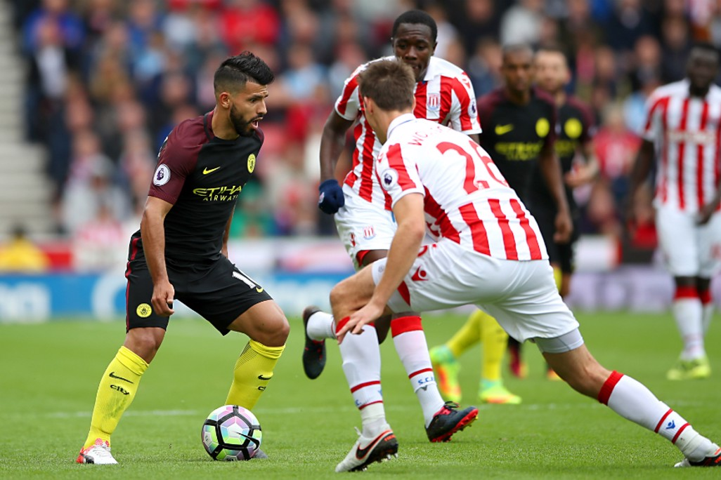 ASSESSING THE SITUATION: Sergio Aguero plots his next move