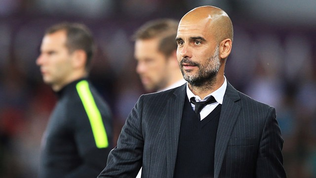 Pep Guardiola during the match