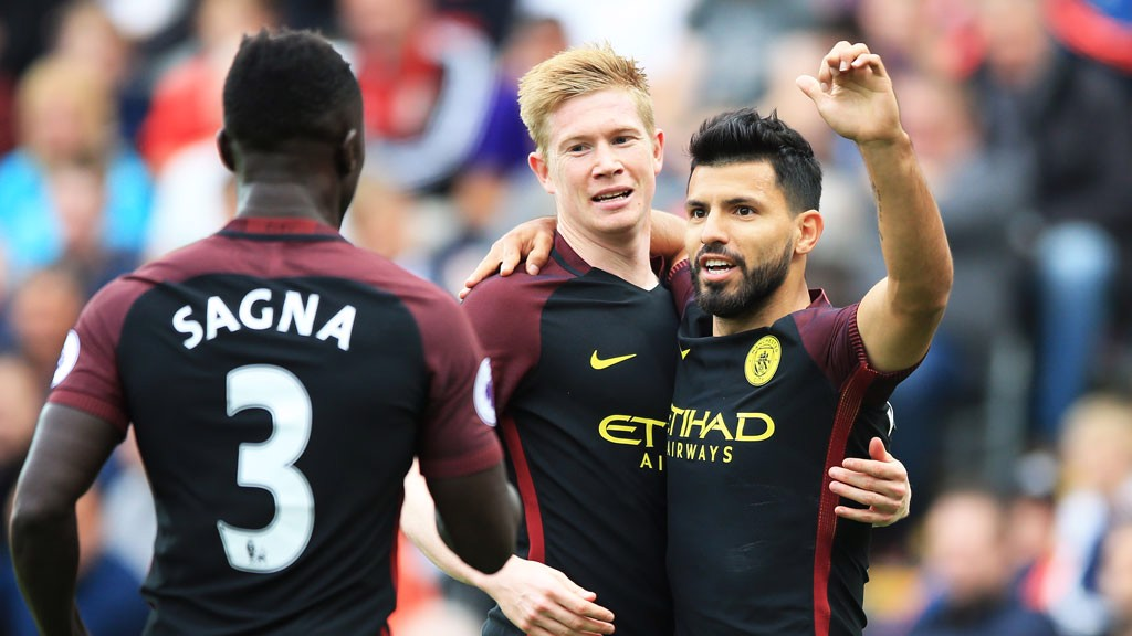 CELEBRATION: Aguero celebrates with Kevin De Bruyne