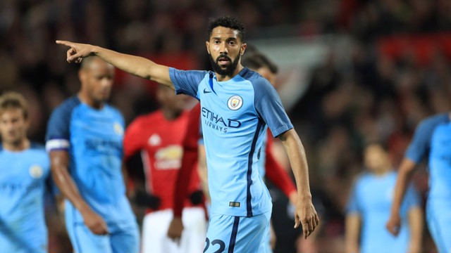 Gael Clichy reacts during the match