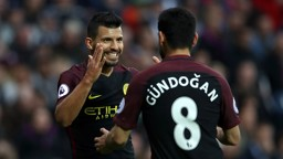 THE OPENER: Goalscorer Sergio Aguero thanks creator Ilkay Gundogan