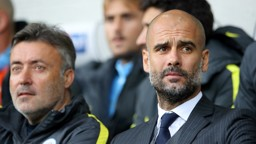 OBSERVING: Pep Guardiola watches on intently