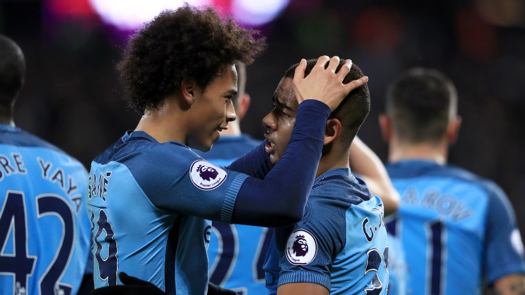 DREAM DUO: Leroy Sane and Gabriel Jesus share a moment of joy