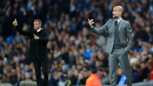 GREAT MINDS: Guardiola and Enrique instruct their sides from the touchline