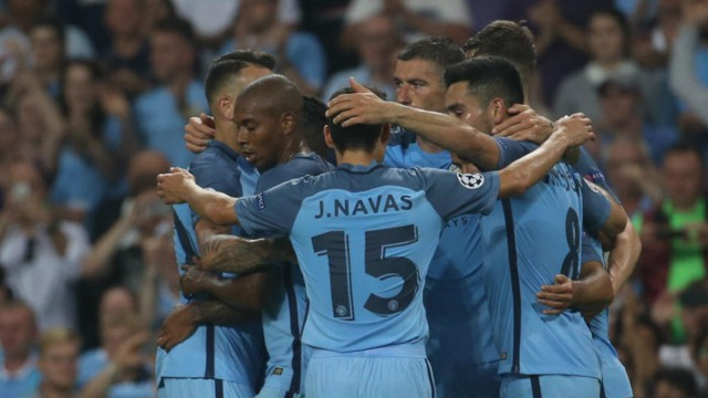 A JOB WELL DONE: Sergio Aguero inspired a 4-0 victory in the group stage opener.
