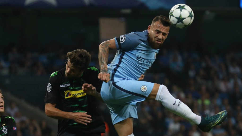 FLYING LEAP: Nicolas Otamendi wins - yet another - aerial challenge