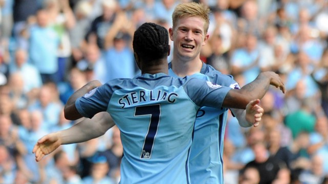 ALL SMILES: KDB was delighted with Raheem putting City 3-0 up!