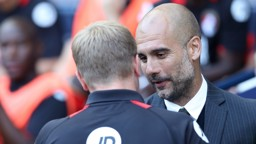PEP: The City boss greets Eddie Howe prior to kick off against Bournemouth.