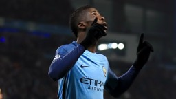 LOOKING UP: Kelechi Iheanacho points to the sky following his wondergoal