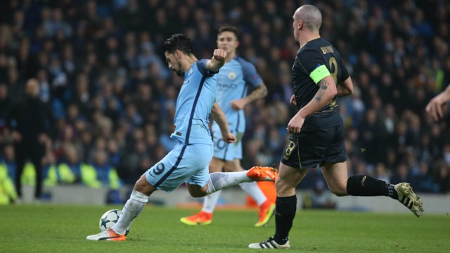 EFFORT: Nolito tries his luck with a low drive