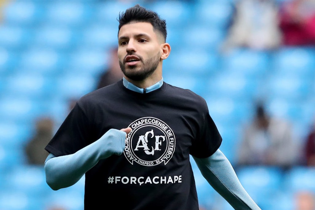 TRIBUTE: Sergio Aguero wearing a T-shirt in tribute to the Colombia air crash