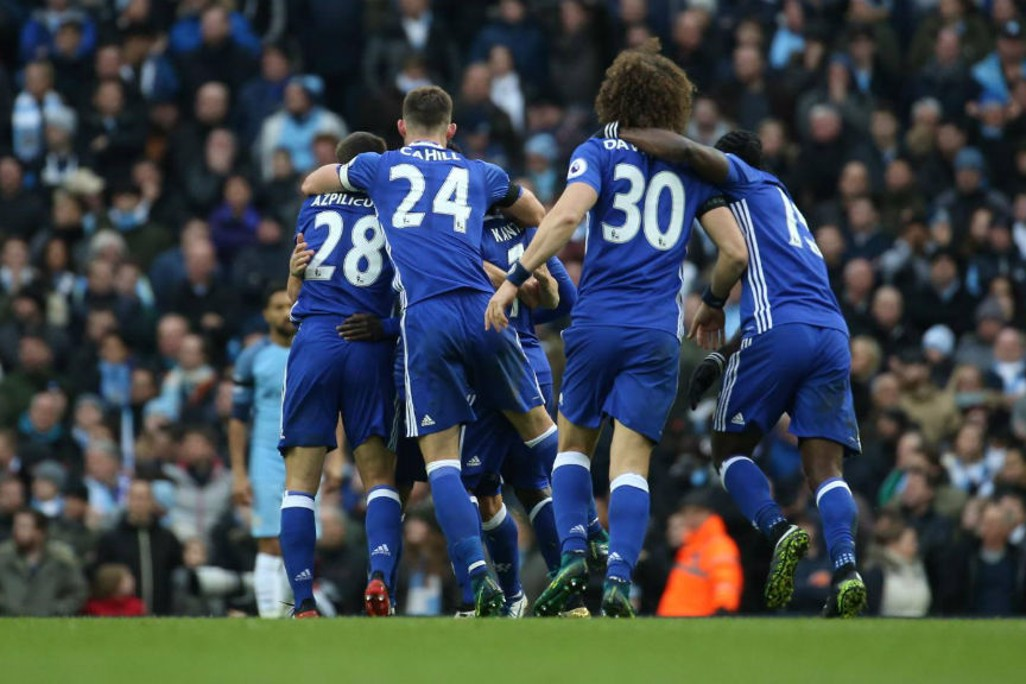 FIGHTBACK: Chelsea celebrate their second goal