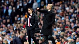 BOSSES: Pep and Middlesbrough boss Aitor Karanka instruct their sides