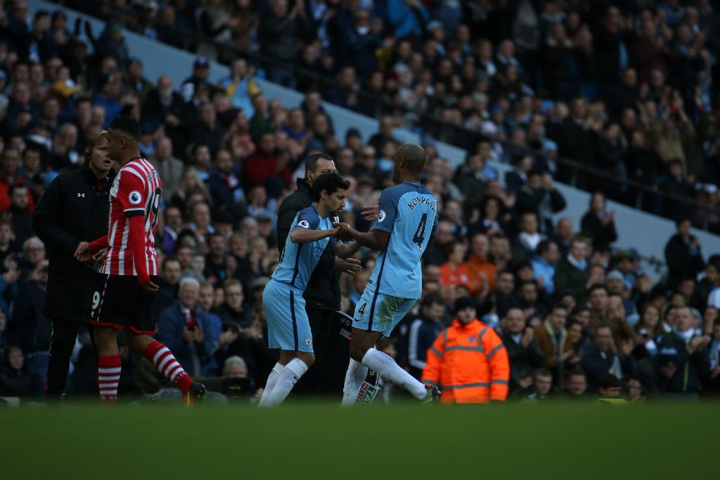 SUPER SUB: Jesus Navas replaces captain Vincent Kompany as City look to increase their threat on Southampton's goal