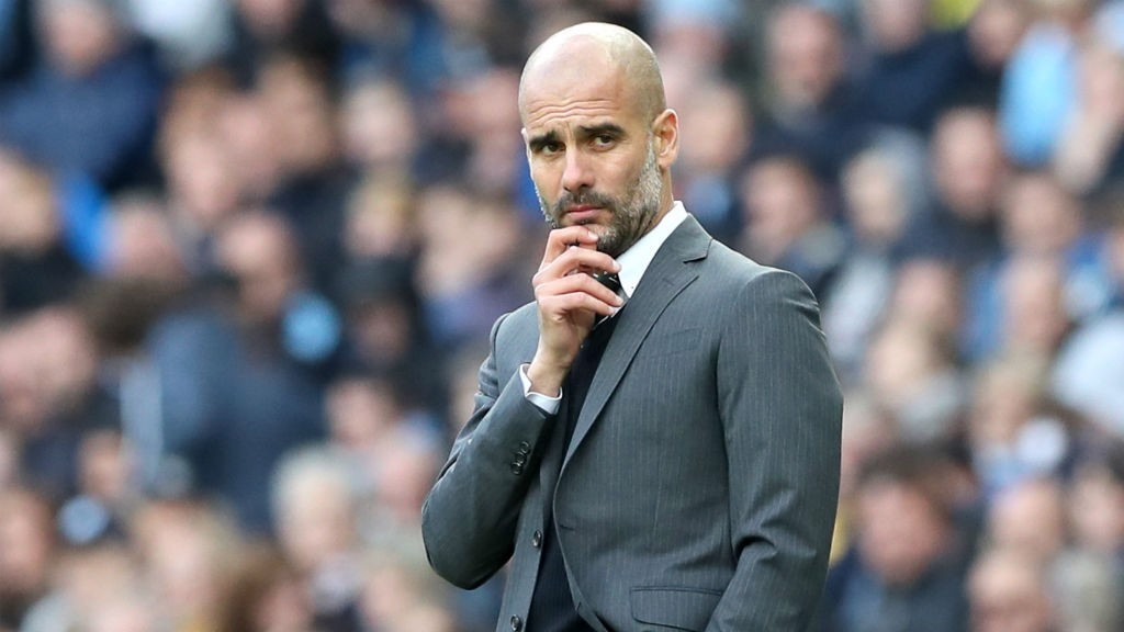 PENSIVE PEP: Guardiola looks on as his side look for a way to break down Southampton