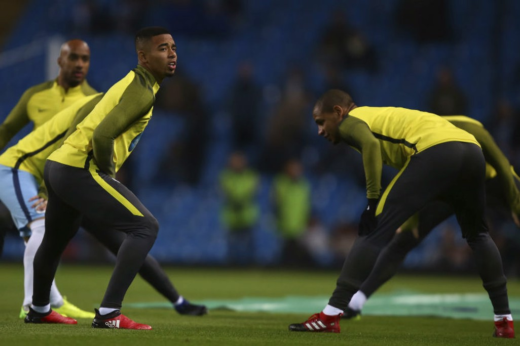 NEW HOME: Gabriel Jesus warming up before kick-off