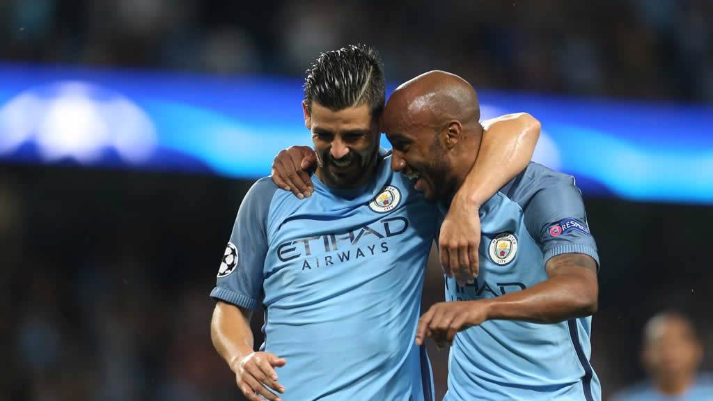 HUGS: Fabian and Nolito celebrate together