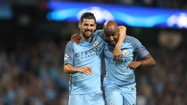 TOGETHER: Delph and Nolito wheel away