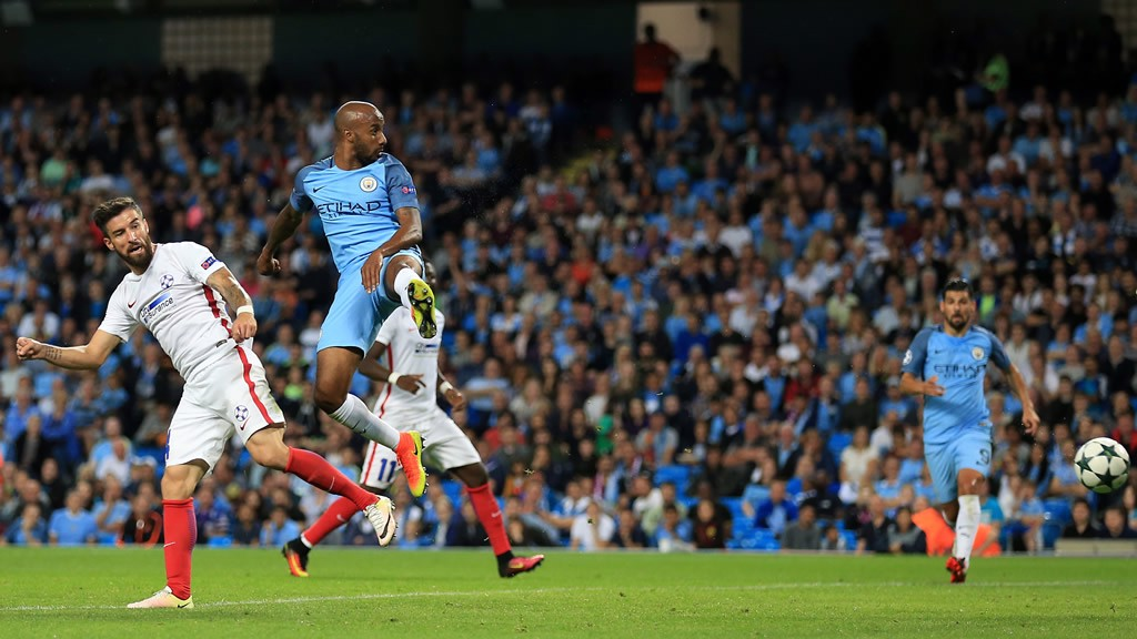 THE GOAL: Delph heads City into the lead on the night