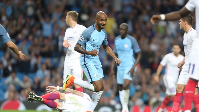 GET IN THERE: Delph celebrates his first start under Pep in style