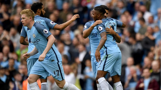 WHAT A FEELING: City celebrate Aguero's goal