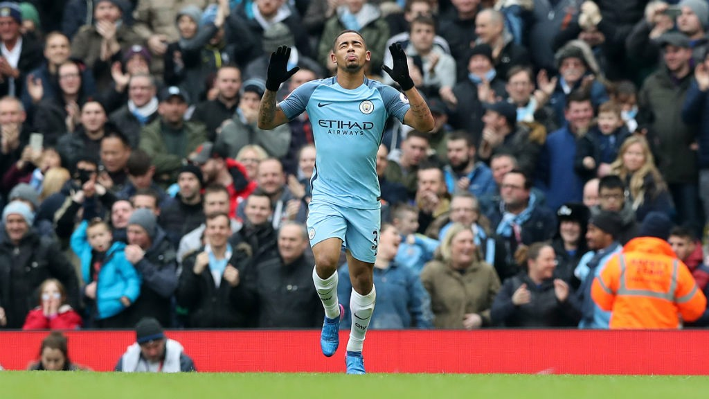BLUE HEAVEN: Gabriel Jesus celebrates City's opener