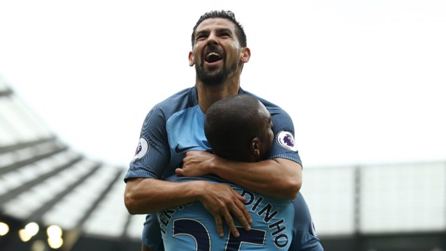NEW FRIENDS: Fernandinho and Nolito celebrate the second