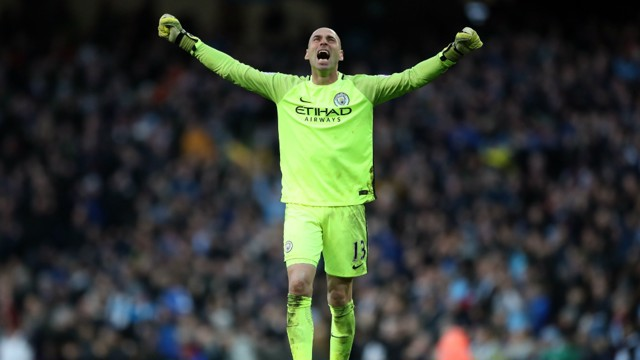 JOY: City's MOTM Cabellero celebrates Aguero's equalizer