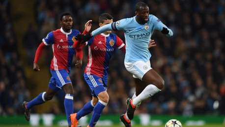 ON THE BALL: Yaya Toure in control against Basel
