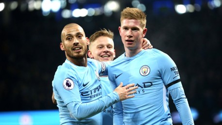 PINPOINT: David Silva congratualtes Kevin De Bruyne after the latter's peach of a cross led to City's opener.