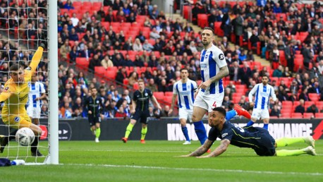City into FA Cup final after narrow Brighton win