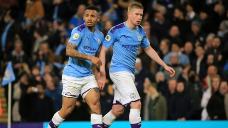 DEADLY DUO: Kevin De Bruyne and Gabriel Jesus combined to wonderful effect against Leicester.