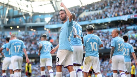 PROUD AS PUNCH: Bernardo acknowledges the City fans