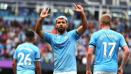 Aguero at the double as slick City coast home