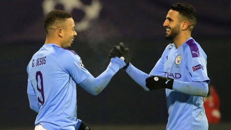 BLUES BROTHERS: Riyad Mahrez congratulates Gabriel Jesus on a good evening's work!