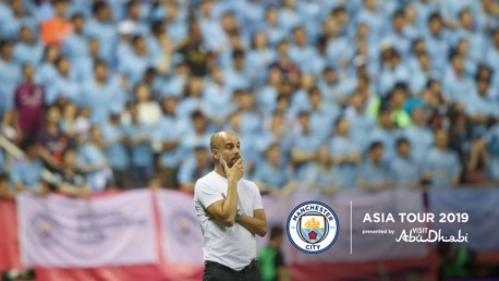 THE GAFFER: Pep Guardiola watches on