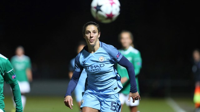 ON THE BALL: Carli Lloyd has made an instant impact at Man City Women