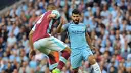 ON THE MOVE: Sergio Aguero in action against West Ham