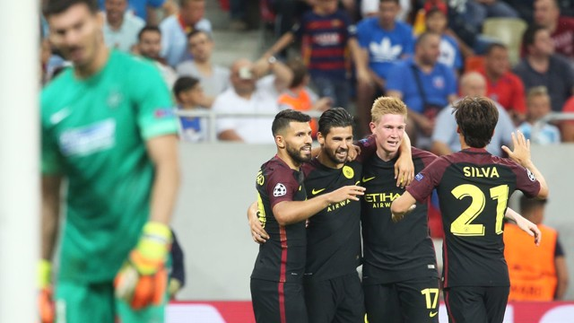 TEAM EFFORT: De Bruyne was proud of the way the side played against Steaua Bucharest