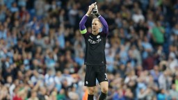 HART: City's goalkeeper claps the fans after the 1-0 victory over Steaua Bucharest.