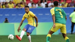 WORKING HARD: Jesus during Brazil's Olympics opener against South Africa.