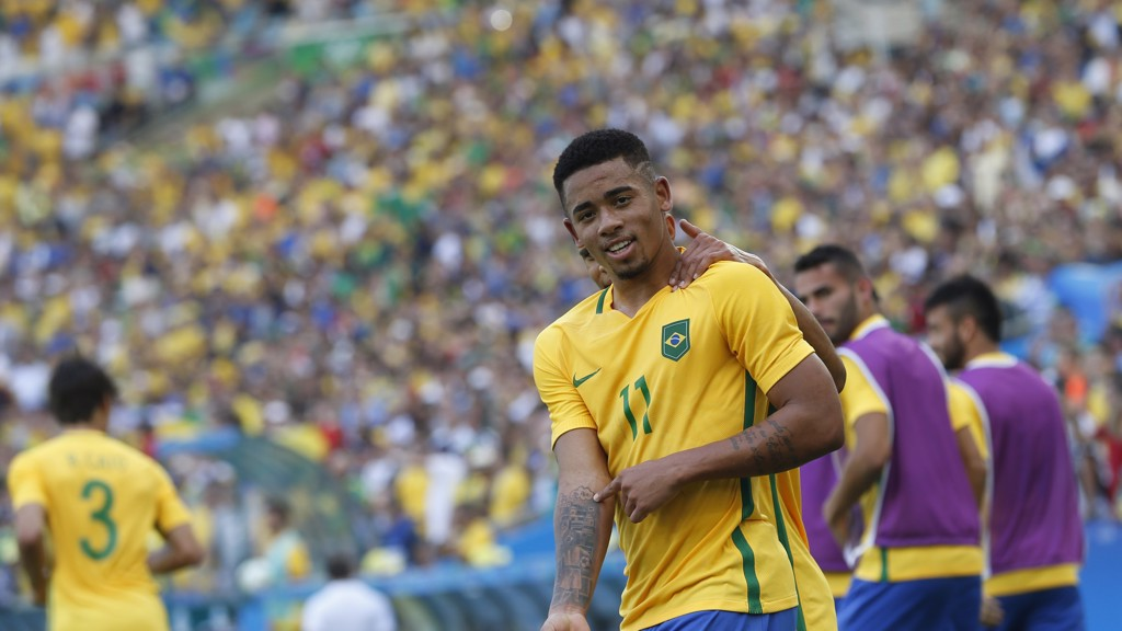 TWO OF SIX: Gabriel Jesus nets two goals for Brazil in their six-nil win over Honduras in the Rio Olympics 2016 semi-final.