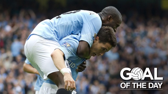 COMEBACK: Nasri and Yaya Toure celebrate together after the Frenchman's opening day goal.