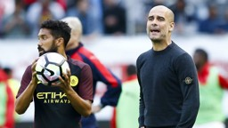 PEP: The City boss remains animated on the touchline.