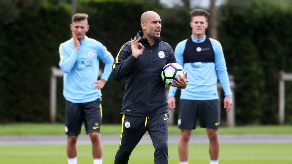 INSTRUCT: Pep giving lessons to the team during training