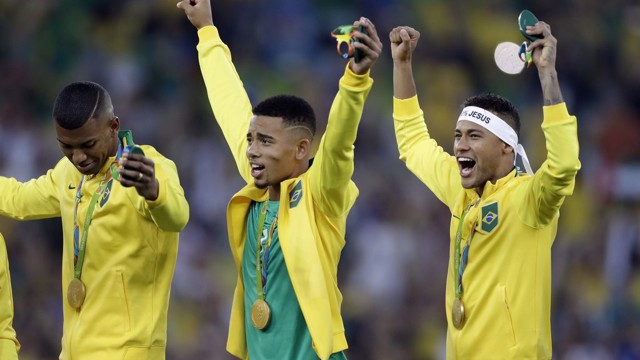 GOLDEN BOY: Gabriel Jesus celebrates in Rio