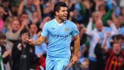 TWO ON HIS DEBUT: Sergio Aguero scores twice on his Manchester City Premier League debut in 2011