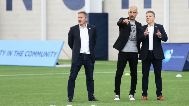 MEETING OF MINDS: Mark Allen, Pep Guardiola and Txiki Begiristain meet at the CFA